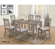 Matrix 7pcs Dining set in light grey finish