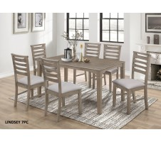 Lindsey 7pc. Dining Set in light grey finish