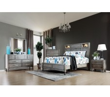 Daphne Queen Bed Frame with Shelves and Lights