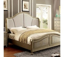 Nesha Queen Bed Frame in gold finish