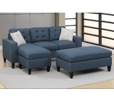 Monroe Sectional & Ottoman in Blue