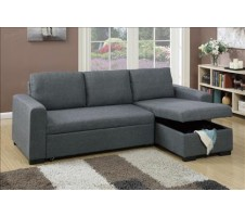 Samo Grey Fabric Sectional Sofa Bed