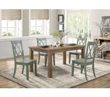 Janina 5pc Dining set with Teal Chairs