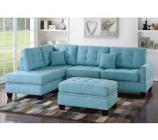 Radcliff 2pc Sectional and Ottoman in Blue