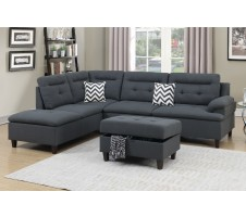 SALE!! Bardot 2pc. Sectional & Storage Ottoman in Gray