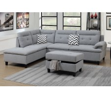 SALE! Bardot 2pc. Sectional & Storage Ottoman in Light Grey