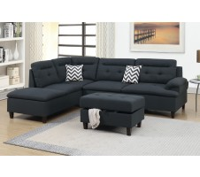SALE! Bardot 2pc. Sectional & Storage Ottoman in Ash Black