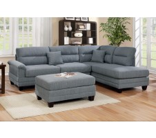 Laurel Sectional and Ottoman In Gray
