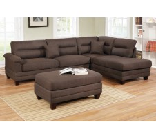 Sharelle Sectional and Ottoman In Chocolate
