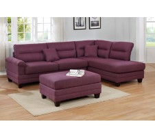 Sharelle Sectional and Ottoman In Purple