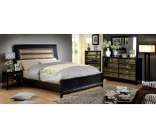 Golva Contemporary Style Gold Finish Queen Bed