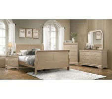 Queen Louis Phillipe 4pc. Bedroom Set in Metallic Champagne