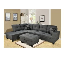 Beverly  2pc. Sectional in dark Grey