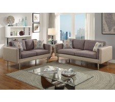 Claxton Sofa and Loveseat set in Coffee/Platinum