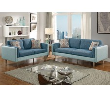 Claxton Sofa and Loveseat set in Blue/Aqua