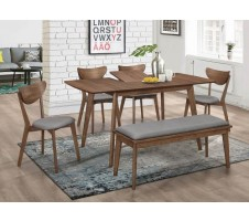 Alfredo 6pc. Mid Century Modern Dining Set with Butterfly Leaf