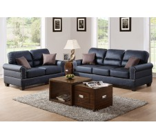 Pisa Sofa and Loveseat in black