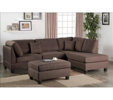 Courtney Sectional and Ottoman in Chocolate