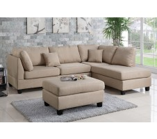 Courtney Sectional & Ottoman in sand
