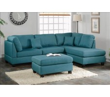 Courtney Sectional and Ottoman in Teal