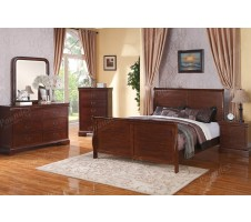 Louis Phillipe Bedroom Set in Dark Walnut