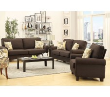 Noelle Sofa and Loveseat set in chocolate