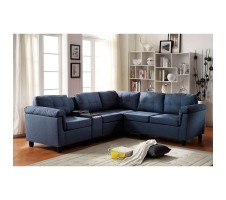 Elian Sectional with Cupholder and Storage in blue
