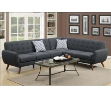 Manhattan 2pcs Sectional in ash black
