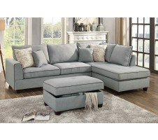 Cleveland Sectional and Storage Ottoman in Steel