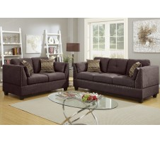 Casoria 2pc Sofa and Loveseat in dark brown