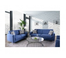 Lauritz 2pc Sofa and Loveseat in Blue