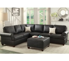 Brent 2pc Sectional Sofa in black