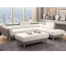 Allora Modern Sectional in white and grey