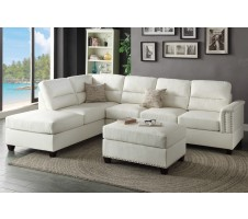 Rousey 2pc. Sectional and Ottoman in white