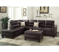 Rousey Brown Leather Sectional Sofa  and Ottoman
