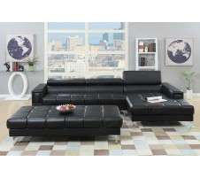 Cleavon Modern Sectional in black