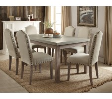 Parker II 7pcs Frosted Gray Salvage Oak Dining Table Set