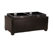 Maxwell Double Flip Tray Cocktail Ottoman with Storage