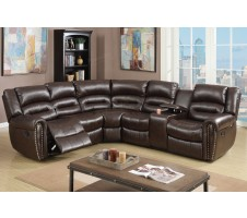 Allister Reclining Sectional with Console in  brown