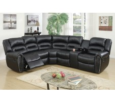 Alister Reclining Sectional with Console in black