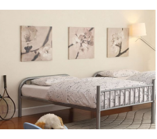 Radcliff Twin Platform Bed in Silver