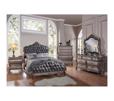 Chantelle Queen Bed Frame with Button Tufted Panels in Antique Platinum