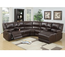 Carmon 5pc Reclining Sectional with Consoles in Brown