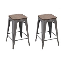 Joveco Vintage Metal and Wood Stools (Set of 2)