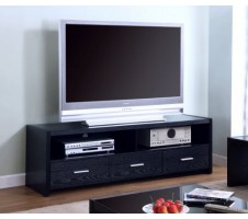 Contemporary Black Finish TV Stand w/ Drawers
