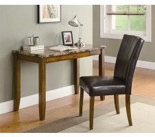 Walnut Finish Desk w/ Faux Marble Top + Chair