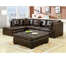 3F7500686PG Brown Bonded Leather Sectional Sofa