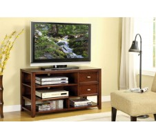 Contemporary Style Dark Walnut Finish TV Stand