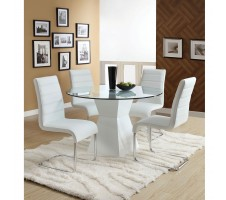 Luna Contemporary Style Glass Top Dining Table + 4 Chairs