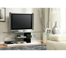 Nuevo White/Black Finish Contemporary TV Stand